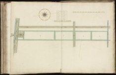 Kaart (rechtsboven genummerd) 63 van kaartboek C van het Burgerweeshuis met een …