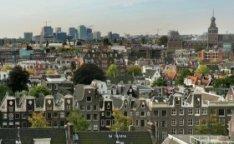 Panorama van de Zuidas gezien vanaf het dak van Gebouw De Bazel, Vijzelstraat 32…