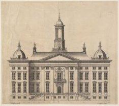 De voorgevel voor een nieuw stadhuis op de Dam. Het ontwerp van J. Vingboons is …