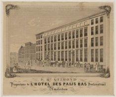 L'Hotel des Paijs Bas, Nieuwe Doelenstraat 11 gezien richting Rokin. Techniek: s…