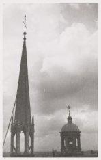Exterieur, Nieuwe Kerk. De torenspits. Achterzijde Nieuwezijds Voorburgwal 143. …