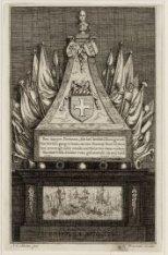 Dam 12, grafmonument van Baron Bentinck in de Nieuwe Kerk. Techniek: ets