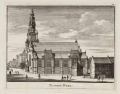 Verzamelblad van vier diverse prenten van de Zuiderkerk