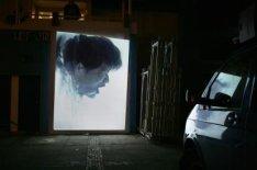 Polderlicht 2005. De projectie 'Breakers' van Kyoko Inatome: op de gevel van het…