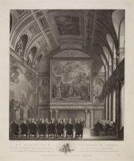 De Raadkamer op het Stadhuis te Amsterdam, zo als de Vroedschap aldaar ''s Jaarl…