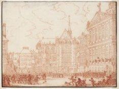 Een betoging op de Dam door voorstanders van het huis van Oranje, wordt in 1747 …