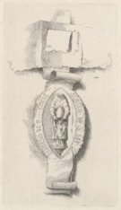 Ets naar een middeleeuws zegel met afbeelding van sint Dionysius