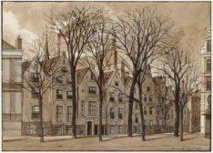 De achterzijde van de huizen aan het Begijnhof 35-43 met in het midden, in de ac…