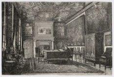 Burgerweeshuis, interieur van de regentenkamer. Houtgravure naar een tekening va…