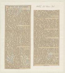 Krantenknipsel met toelichting door C. Visser op de afbeelding van de gevelstene…