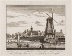 Vermakelyk gezigt van het dorp Sloterdyk, van de Haarlemmer vaart te zien. Met m…
