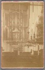 Dam 12. Interieur van de Nieuwe Kerk gezien naar het orgel