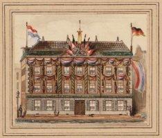 Het Commandantshuis op de Dam versierd voor het huwelijk van Koning Willem III e…