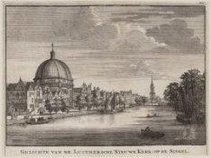 Gezichte van de Luithersche Nieuwe Kerk: op de Singel