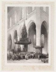 Het Interieur van de Nieuwe Kerk, gezicht op de preekstoel. Techniek: litho