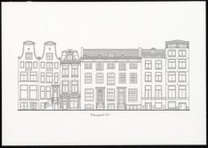 Prent naar een geveltekening van Prinsengracht 977-989