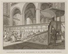 Trouwplegtigheid by de Hervormden, in de Nieuwe Kerk, te Amsterdam