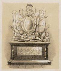 Het grafmonument van Jan van Galen in de Nieuwe Kerk. Techniek: litho
