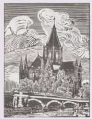 Tekening in gombatik van de kerk van de H. Willibrordus buiten de Veste op de ho…