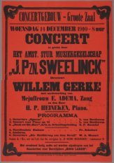 Concert van het Amsterdamsch Studenten Muziekgezelschap  J. Pzn Sweelinck o.l.v.…