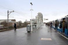 Metrostation Spaklerweg. Perron, gezien in noordelijke richting naar de Omval