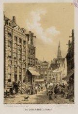 Jodenbreestraat naar de Sint Antoniesluis gezien met op de voorgrond straathande…