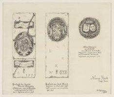 Twee grafzerken in het hoogkoor van de Nieuwe Kerk. Zerk nummer 157, van de fami…