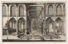 De nieuwe Kerck, van binnen, ten westen, tegen 't Orgel aan te zien