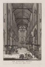 De Nieuwe Kerk, van binnen, naar ''t Westen, te zien