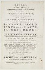 Aankondiging in het latijns van de Oratie van Janus Clifford