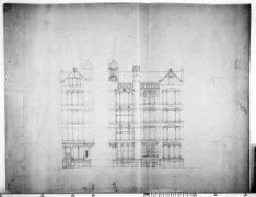 Ontwerptekeningen met aanzichten en plattegronden voor een eerste ontwerp; nr. 8
