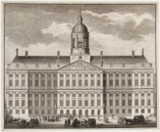 Voorgevel van het Nieuwe Stadhuis, Dam 14. Techniek: ets en gravure