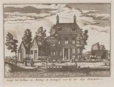 Gezigt het Tolhuys en Herberg de Voetangel voor by het dorp Ouderkerk. Techniek:…