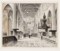 Interieur van het schip van de Nieuwe Kerk, gezien van het transept naar het org…