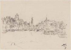 De Amstel gezien vanaf de Blauwbrug naar de Halvemaansbrug en de Munt. Getekend …