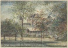 Vondelpark 3, het Vondelparkpaviljoen gezien over de vijver. Tekening door een o…