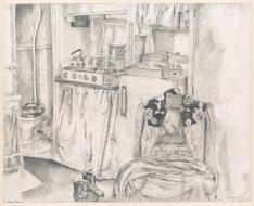 Interieur van Elandsgracht 3, twee hoog, de keuken in de woning van de kunstenar…
