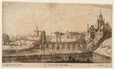 Gezicht op de stadsvest de 2e Sint Antoniespoort en het ten noorden daarvan gele…