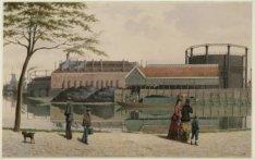 Singelgracht met de Oude Engelse gasfabriek op de plaats van de huidige Marnixst…