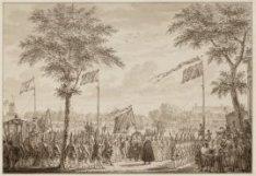 Het vertrek van stadhouder Willem V en prinses WIlhelmina uit Amsterdam op 4 jun…