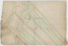Kaart van gebied buiten de Heiligewegspoort (Koningsplein) met ingekleurd twee w…