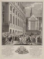 Gezigt van den Dam, het Stadhuis, en de Nieuwe Kerk, te Amsteldam