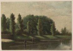 Palm kerkhof van de Oostzijde gezien (verso)