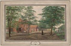 Ziekenbarakken in den tuin van het oude Buitengasthuis (recto); Barakken van het…