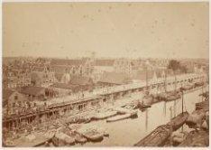Spoorweg te Amsterdam. Viaduct langs de Houttuinen. 17 Juny 1872