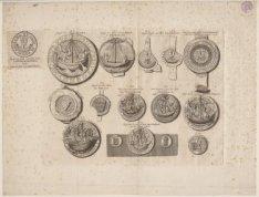 Diverse zegels uit Amsterdam met die van Lubeck en Stavoren. Techniek: gravure