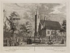 Gezicht van de Engelsche-Kerk, op het Begynhof, tot Amsterdam