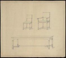 Ontwerptekening van een tafel en stoelen in de Oude Waalse Kerk, Oudezijds Achte…