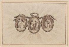 Ontwerp voor de drie medaillons met allegorische voorstellingen voor de benedenr…