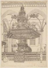 Vooraanzicht van de preekstoel van de Nieuwe Kerk, in spiegelbeeld. Techniek: et…